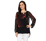 Susan Graver Placement Print Sheer Chiffon Tunic with Keyhole - A263001