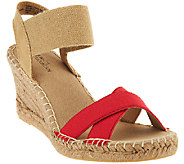 White Mountain Espadrille Wedges w/ Gored Strap - Laugh Line - A263201