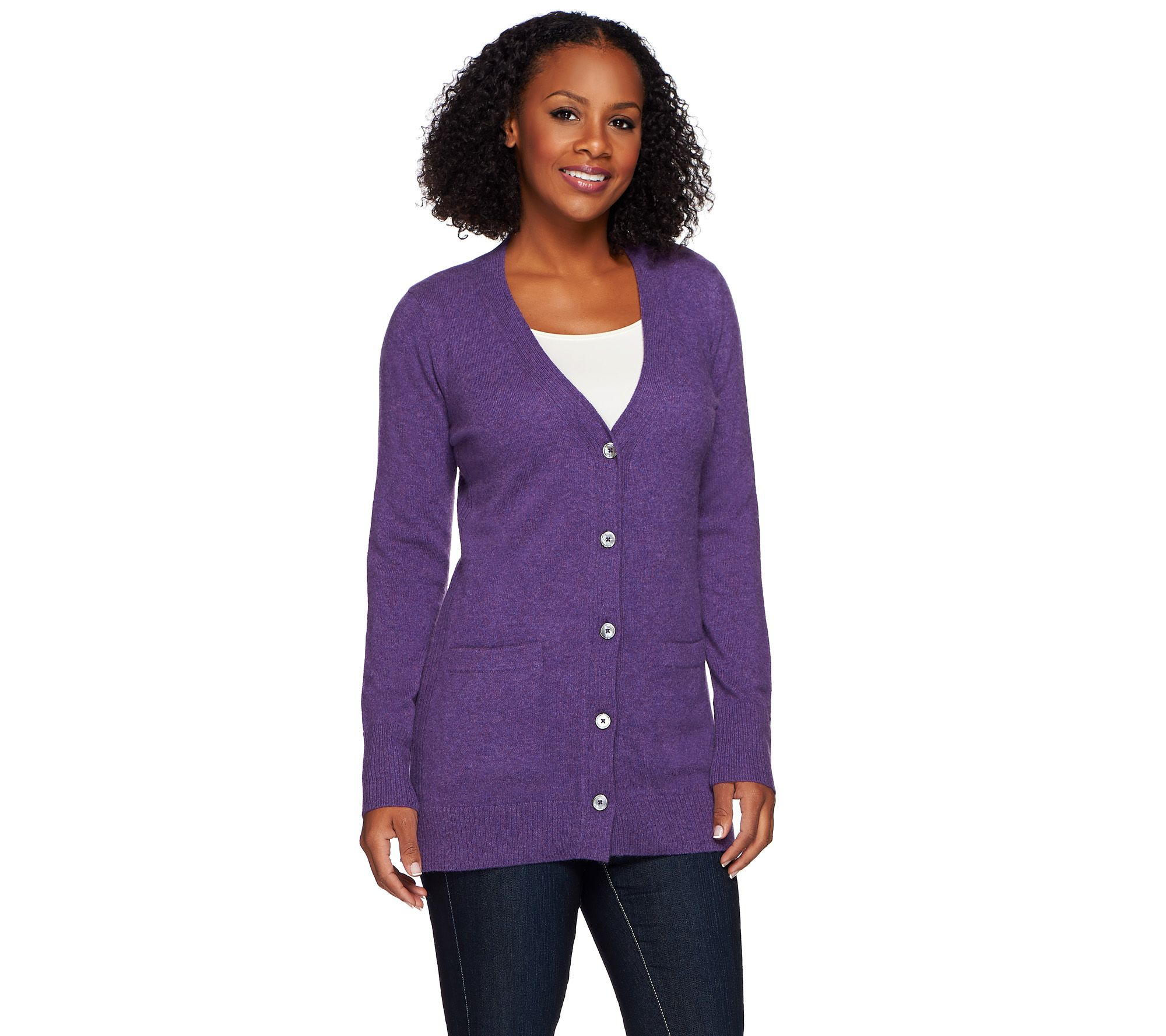 Isaac Mizrahi Live! 2-Ply Cashmere Boyfriend Cardigan - Page 1 ...