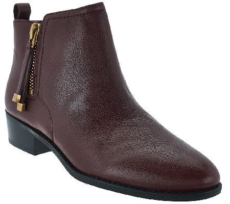 Franco Sarto Leather Ankle Boots w/ Side Zipper - Skylar - A268701