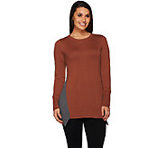 LOGO by Lori Goldstein Cotton Cashmere Sweater with Color-Block Dtl - A268901