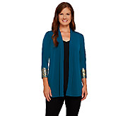 Susan Graver Liquid Knit 3/4 Sleeve Cardigan w/ Printed Cuffs - A269301