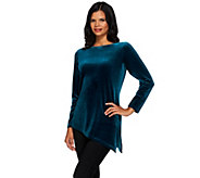 Susan Graver Stretch Velvet Tunic with Asymmetric Hem - A270301