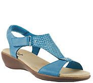 As Is Clarks Leather T-Strap Sandals w/ Adj. Strap - Roza Pine - A271001