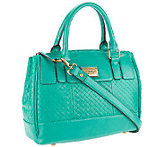 As Is Tignanello Distressed Leather Weaved Satchel Handbag - A271901