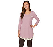 LOGO by Lori Goldstein Knit Top with Lace Detail - A272201