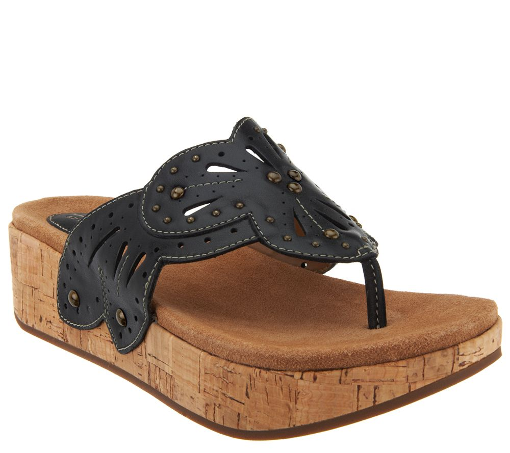 Clarks Leather Perforated Wedge Thong Sandals - Palima Palm - Page 1 —  QVC.com