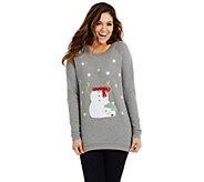Bethany Mota Long Sleeve Snowman Holiday Sweatshirt - A273801
