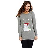Bethany Mota Long Sleeve Snowman Holiday Sweatshirt - A273801