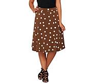 Susan Graver Printed Liquid Knit Comfort Waist Skirt - A274501