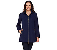 Dennis Basso Water Resistant Zip Front Jacket with Hood - A274901