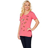 Quacker Factory Butterfly Print and Sequin Short Sleeve T-shirt - A275301
