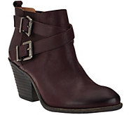 As Is Sole Society Leather Ankle Boots w/ Buckle Detail - Maris - A276101
