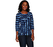 As Is Denim & Co. Mitered Stripe Jersey Square Neck Top - A277001