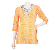 As Is Quacker Factory Snake Printed Tunic w/ Embellished Neckline - A279501