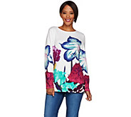 Studio by Denim & Co. Printed Bateau Neck Long Sleeve Top - A279901