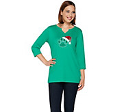 Quacker Factory Holiday Paw Print 3/4 Sleeve T-shirt - A280901