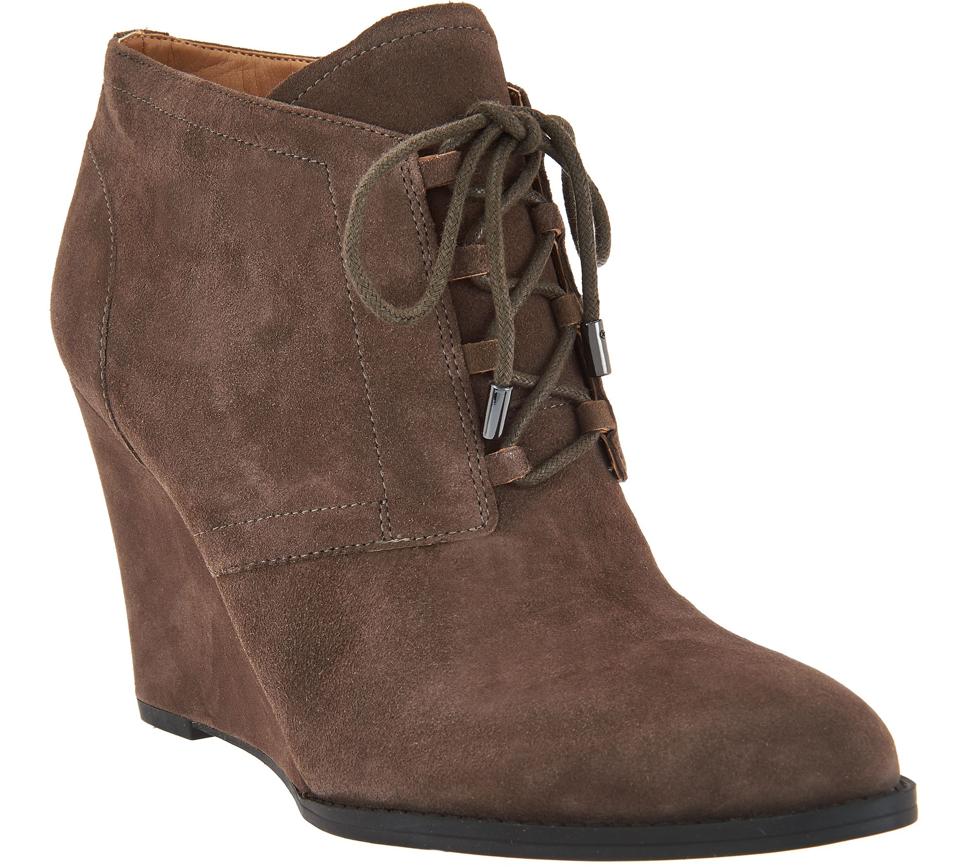 franco sarto suede lace up wedge ankle boots lennon