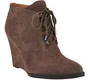 Franco Sarto Suede Lace-up Wedge Ankle Boots - Lennon - A281301