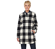 C. Wonder Wool Blend Buffalo Plaid Snap Front Coat - A281601