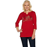 Quacker Factory Fall Day Split Neck 3/4 Sleeve T-shirt - A281801