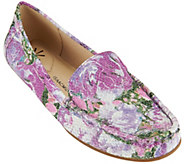 As Is Isaac Mizrahi Live! Floral Printed Leather Mocassins - A283101