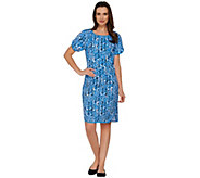 As Is Denim & Co. Active Printed Knit Short Sleeve Dress - A283401