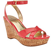 As Is Marc Fisher Cross Strap Wedge Sandals w/Ankle Strap - Welly - A284701