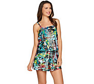 As Is St. Tropez Foiled Palm Station Blouson Romper Swimsuit - A286401
