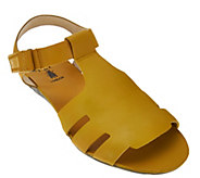 As Is FLY London Leather Adjustable T-strap Sandals - Fely - A286501