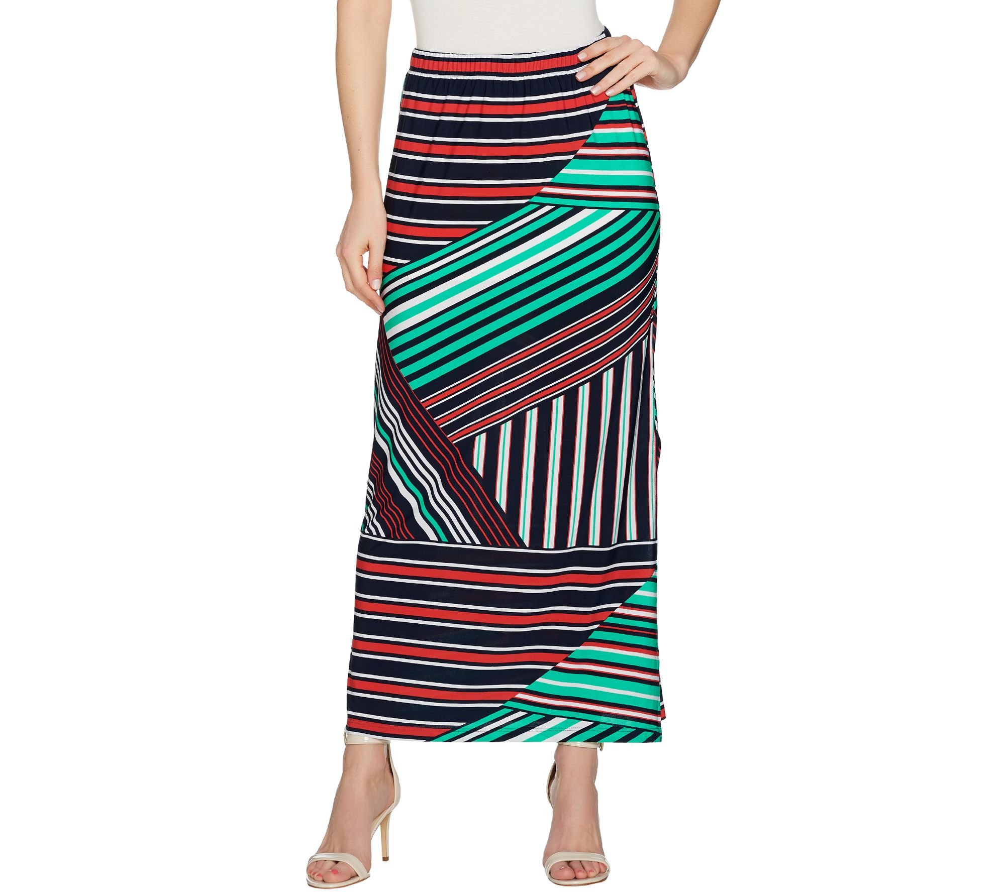 susan graver printed liquid knit maxi skirt w slit