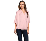 As Is H by Halston Draped Wrap Front Knit Elbow Sleeve Top - A287901