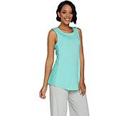 H by Halston Sleeveless Knit Tank w/ Lace Inset Details - A288601