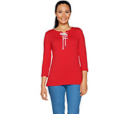 Susan Graver Weekend Stretch Cotton Modal Top with Lacing - A289401