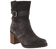 As Is Clarks Artisan Suede Side Zip Boots - Malvet Doris - A289501