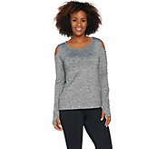 cee bee CHERYL BURKE Melange Knit Cold Shoulder Top - A292201
