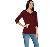 Quacker Factory 3/4 Sleeve Knit Top with Glam Zipper Detail - A294001