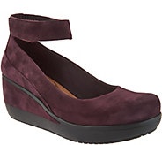 Clarks Artisan Leather Ankle Wrap Wedge Pumps- Wynnmere Fox - A295301