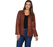 Denim & Co. Faux Leather Zip Front Jacket with Seaming Detail - A299201