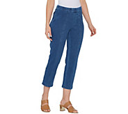 Isaac Mizrahi Live! Regular Knit Denim Crop Pull-On Jeans - A303201