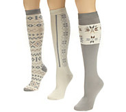 MUK LUKS Womens 3-Pair Over-the-Knee Textured Socks - A337701
