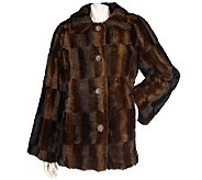 Dennis Basso Faux Fur A-Line Coat with Brushed Pattern - A94301