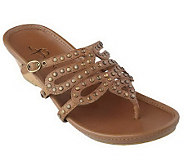As Is B.Makowsky Leather Wedge Thong Sandals - A210902