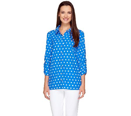 Susan Graver Cool Peach Polka Dot Shirt with Ruched Sleeves