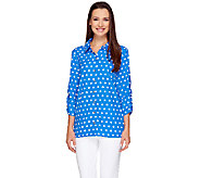 Susan Graver Cool Peach Polka Dot Shirt with Ruched Sleeves - A212902