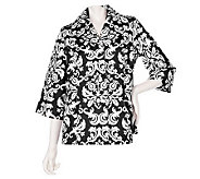 Dennis Basso Printed Cotton Canvas 3/4 Sleeve A-line Jacket - A214202