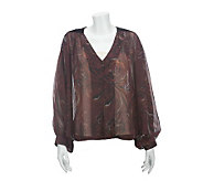 Nicole Richie Collection Printed Blouse with Velvet Detail - A228702