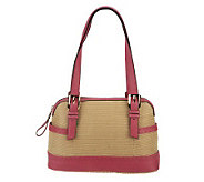 B. Makowsky Straw Zip Top Satchel with Glove Leather Trim - A231002