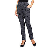LOGO by Lori Goldstein Regular Animal Print Scuba Knit Pants - A237102