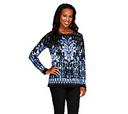 Bob Mackies Long Sleeve Scoop Neck Fantasy Ikat Print Top - A237602